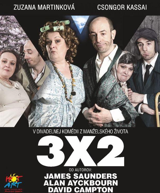 """Komédia """"3X2""""   ( Divadlo- komédia) - Logo"""